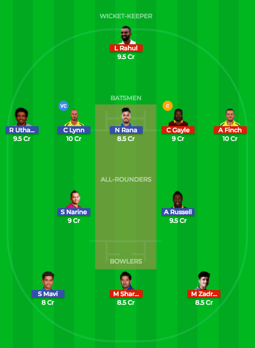 Dream11 team 1 prediction kkr vs kxip 18th match