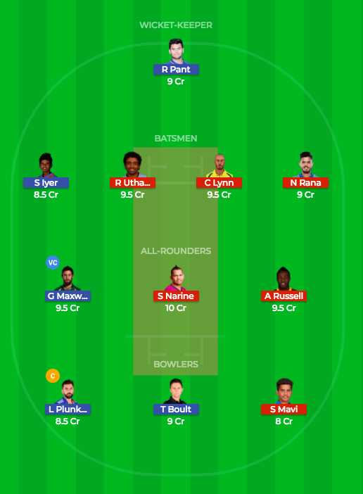 Today Dream11 Prediction KKR vs DD 26th T20 Match IPL 2018 1
