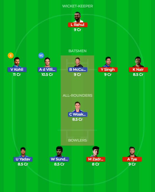 dream11 rcv vs kxip team1 8th match prediction