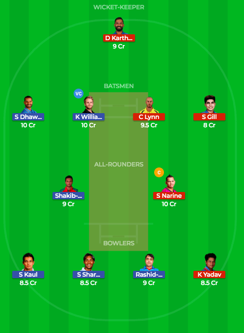Today Dream11 Prediction KKR vs SRH 54th T20 Match IPL 2018 1