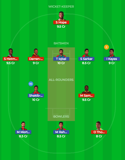 WI vs BAN Dream11 Team 2