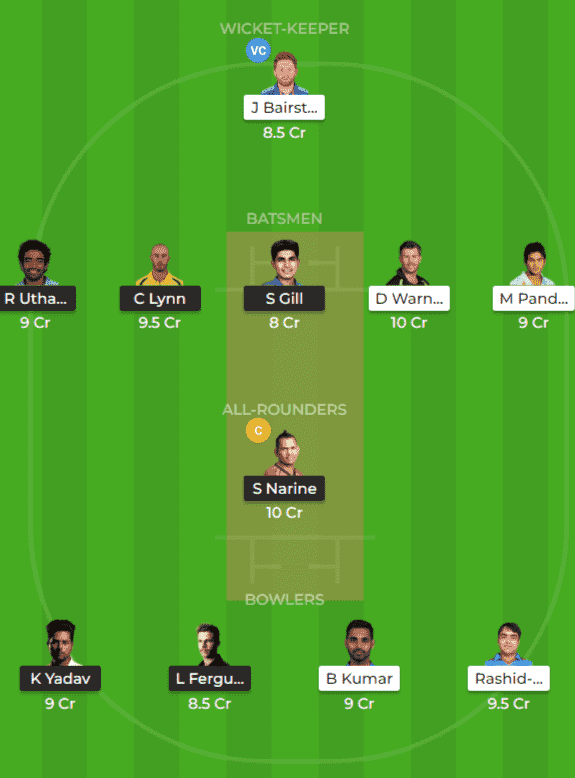 KKR vs SRH Dream11 Team Prediction 2nd Match IPL 2019
