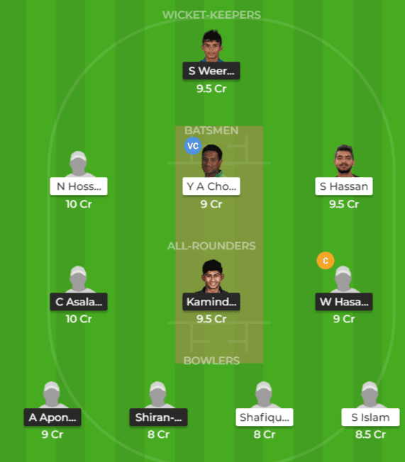 BD-ET vs SL-ET Dream11 Grand League Team Prediction