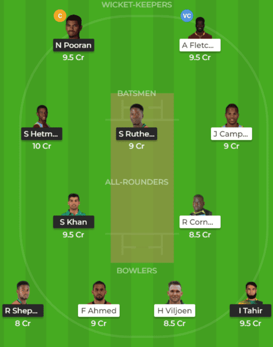 GUY vs SLZ Dream11 Team Prediction 2nd Match CPL 2019